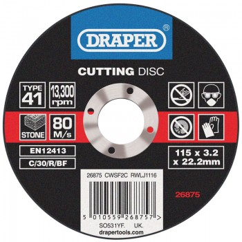 Flat Stone Cutting Discs (115 x 3.2 x 22.2mm)