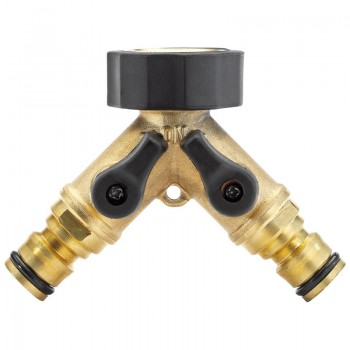 """Brass Double Tap Connector with Flow Control (3/4"""")"""