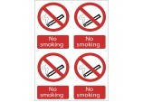 4 x 'No Smoking' Prohibition Sign