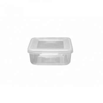 Food Container Square Hinged Lid - 165ml Clear