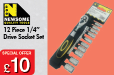 """12pc 1/4"""" Drive Socket Set  – Now Only £10.00"""