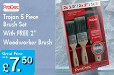 """Trojan 5 Piece Brush Set With FREE 2"""" Woodworker Brush – Now Only £7.50"""