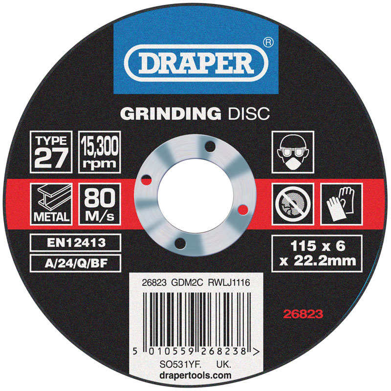 Grinding Disc With Depressed Centre Bore (115 x 6 x 22.2mm) – Now Only £1.22