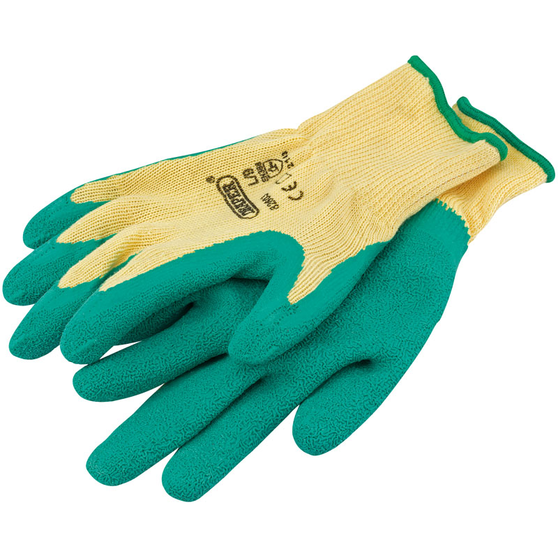 Green Heavy Duty Latex Coated Work Gloves - Large – Now Only £1.73