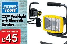 230V Worklight with Wireless Speaker – Now Only £45.00